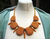 FELTED NECKLACE Hand Felted Necklace Choker Collar Yellow Ceramic Beads Wearable Art