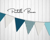 """INSTANT DOWNLOAD - Printable Flag Banner for Parties, Photo Prop, Nursery, Baby Shower - """"Snips and Snails"""" - Blue and Cream"""
