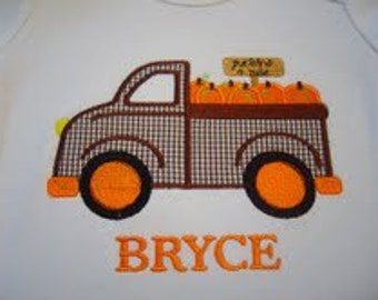Truck Hauling Pumpkins Custom boutique appliqued monogrammed personalized, boys, girls, t shirt, infant one piece shirts w/snaps, halloween
