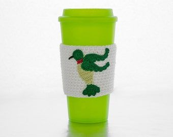 Coffee Cozy, Cup Cozy, Crocheted, Garden Hummingbird applique, Sleeve, Chartreuse and Green,ruby throat, linen colored sleeve