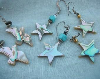 "Abalone Earrings - Sea Gull or Stars - Seashore Sensation Pink Blue & Green Iridescence 2"" Sterling Silver Ear Wires- Boho Beach Jewelry"