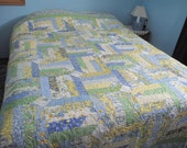 Queen Size Blue and Yellow Springtime Quilt