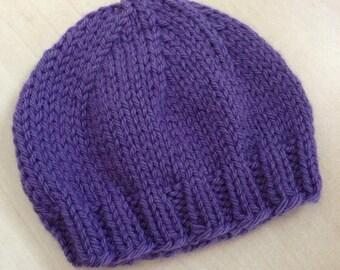 Violet Hat, Purple Hat, Purple Newborn Hat, Baby Beanie, Photo Prop, Infant Hat, Hospital Hat