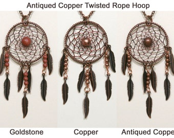 Dream Catcher Goldstone, Antiqued Copper & Copper Dreamcatcher Necklace with Feathers