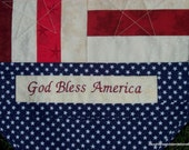 US God Bless America Embroidered Flag Table Runner Red White Blue 16 1/2 X50 Veteran Soldier Patriotic