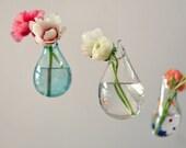 Hanging Air Plant Vase / Hand Blown Glass Vase/ Transparent Pale Blue / Flower Vase / Wall Decor