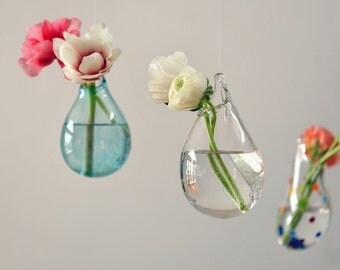 Hanging Air Plant Vase / Hand Blown Glass Vase/ Transparent Pale Blue / Flower Vase / Wall Decor