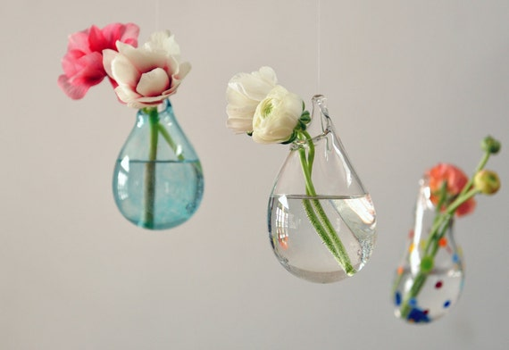 Hanging air plant vase hand blown glass vase transparent for Air vase