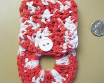 Towel Holder - Red and White  Knit