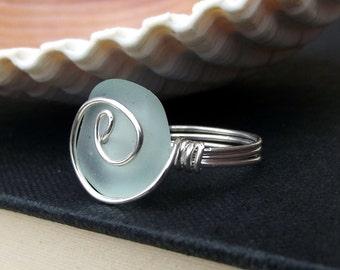 Pale Aqua Frosted Glass Ring:  Fine Silver Swirl Spiral Wire Wrapped Light Seafoam Mint Green Sea Glass Beach Jewelry, Size 6