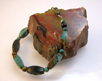 Turquoise and brass bracelet: charity donation