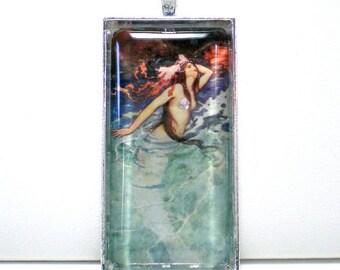 Mermaid Glass Photo Pendant, 1x2 Mermaid Altered Art Pendant, Mermaid Necklace, Siren, Sea Nymph