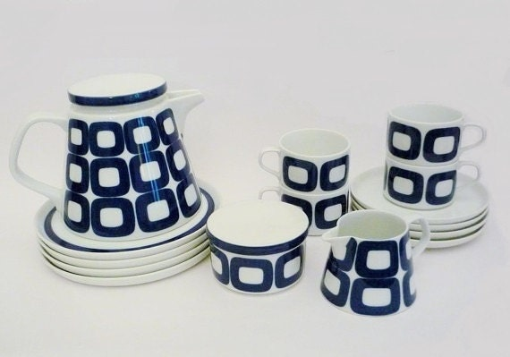 Vintage Melitta Tea Set White and Blue Squares Seventies