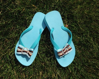 "Aqua Blue 1.5"" Wedge Flip Flops -100% Brazilian Rubber"