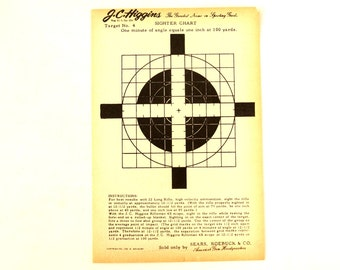 Vintage J.C. Higgins Sighter Target  No. 4 Paper Shooting Target c.1940s (6 x 9 inches) - Collectible, Home Decor, Paper Projects, and more