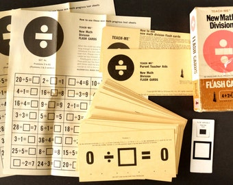 "Vintage Teach-Me New Math Division Flash Cards, Complete Set of 41, 6"" cards (c.1965) - School Collectible, Ephemera, Scrapbooks Journals"