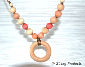 Beaded Teething Necklace by Zúbky - Sunkissed Natural Wood Tones with for Nursing Breastfeeding Babywearing Mom