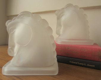 Horse head bookends in frosted glass.  Equestrian decor.  Kentucky Derby decor.