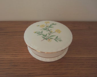 Spring flowers.  Round Royal Kent porcelain trinket box.  Mother's Day gift.