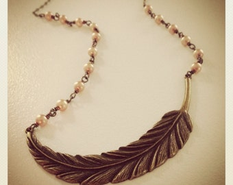 Rustic Feather-Bronze Feather and Champagne Pearl Necklace, Native, Romantic
