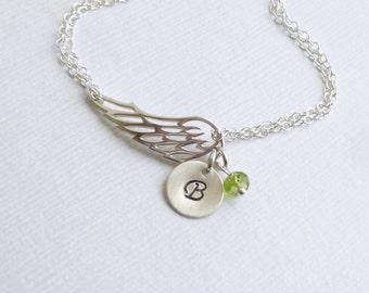 Angel Wing Initial Birthstone Bracelet-- 925 Sterling Silver -- Friendship -- Bridesmaids -- Mothers