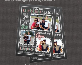 Christmas Chalk Card with 3 photos 4x6 or 5x7 digital you print your own- Design 208