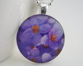 Violet Glass Tile Pendant with Free Necklace