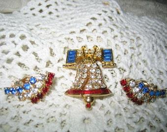 Red White Blue Rhinestone Brooch Earrings Cinerama Cranston RI