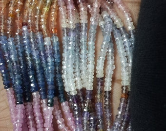 Multi Sapphire Gemstone Beads Faceted Roundelle AAA Quality Size 3MM Approx 3 strands14 inches  Wholesale Price