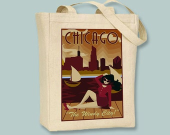 Vintage Chicago the Windy City Poster Illustration on Black or Natural canvas Tote -Selection of sizes available