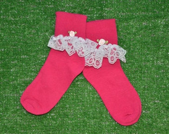 Hot Pink -  Lace Socks with Rose for Little Girls - Size 7-8 1/2 (S) - US Shoe Size 9-1