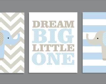 Elephant Dream, Elephant Decor, Nursery Art Prints, Nursery Decor-  Set of three prints