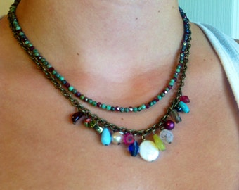 Double Strand Charm Necklace