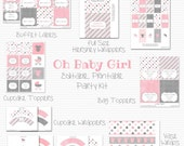 Pink and Grey Baby Shower Printable Party, Baby Girl Shower, Carriage, Party Kit, Party Supplies -- Editable, Printable, and Instant Downlad