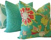 Floral Pillows - Turquoise Pillows - Tropical Pillows - Decorative Pillows - Outdoor Pillow Covers - Lumbar Pillows - Euro Sham - Home Decor