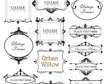 """ORNAMENTAL designs - """"Madeleine"""" -12 piece vintage frame set. Png & Jpeg files. Clip art for personal and commercial use."""
