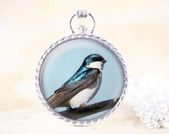 Tree Swallow Necklace, Silver Bird Photo Jewelry Pendant, Swallow Bird Jewelry