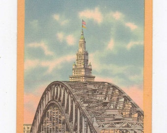 "Ohio, Vintage Postcard, ""High Level Bridge and Terminal Tower, Cleveland, Ohio"", Linen, 1940s #154-2"