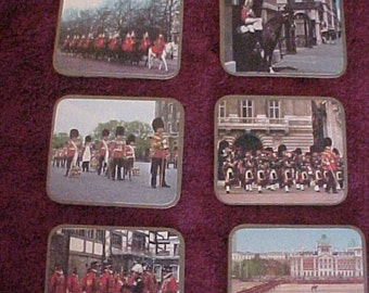 England,  Set of 6 British Drink Coasters, 6 pics of Beef Eaters, Royal Guard etc. Nice Condition