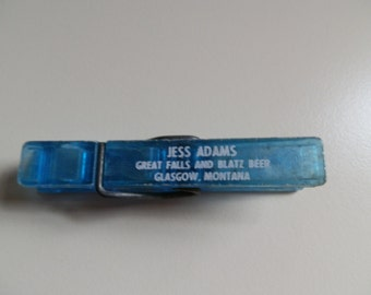 Vintage Advertising Clothes Pin-Jess Adams Great Falls and Blatz Beer Glasgow Montana