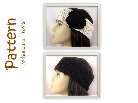 Knitting Pattern Ear Warmer 2 Designs one with Flower E1001