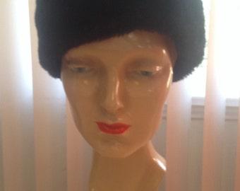 Black Faux Fur 1960s Hat