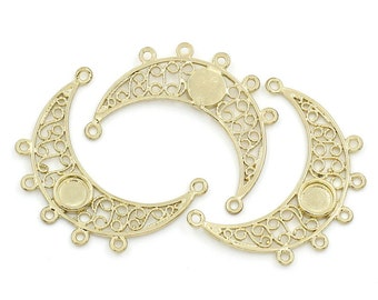 2 GOLD PLATED Copper Charm Pendants MOON Connector Link (can hold 5mm cabochon) open filigree design chg0099