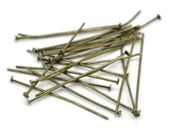 50 Antique Bronze Metal Flat Head Pins, 35mm long, 20 gauge  pin0061a