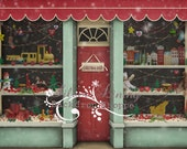 7ft x 6ft EXTRA LARGE Vinyl Photography Backdrop / Little Christmas Toyshop