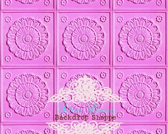 "54""x6' Photography Backdrop / PINK TILES / Lilly Antique Tiles"