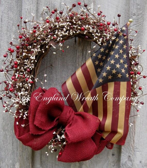 Americana Wreath Patriotic Wreath Fourth Of July Memorial