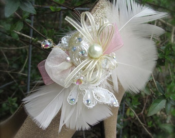Bridal Shoe Clips Ivory and blush pink Feathers