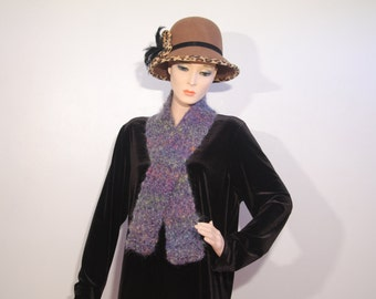 """Violet Multi-Colored Mohair Scarf, 59"""" by 4"""", and 49"""" by 4"""" crocheted"""