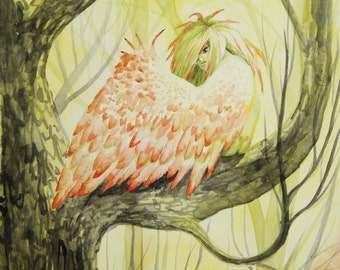 Harpy, Watercolor Print Fantasy